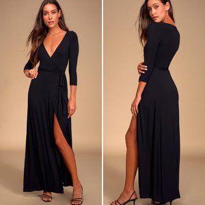 LULUS Garden District Black Wrap Maxi Dress